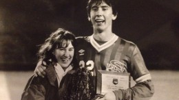 Jeff Ammons pictured with his then girlfriend, now wife after winning the 1989 NC state championship with Sanderson. Ammons began coaching for Leesville this past soccer season. (Photo Courtesy of Jeff Ammons).