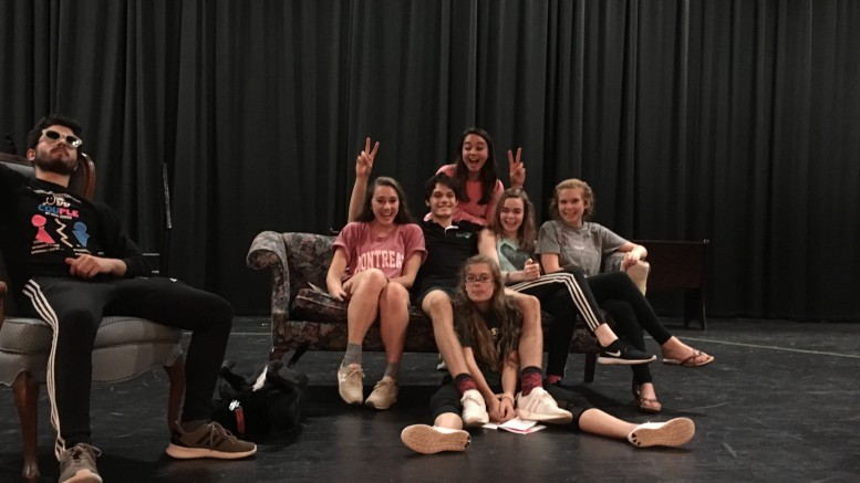 Katelyn Sherman, sophomore, pictured second to the far right, practices with the cast of Leesville's Dearly Departed. The play will be take place on November 16 and 18, and tickets will be 10 dollars at the door. (Photo used by permission of Kelsey Holt)