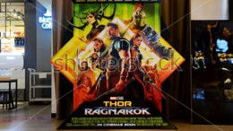 The official movie poster of Thor: Ragnarok. The poster features many of the new characters including Hela (top left), Valkyrie (middle right), and The Grandmaster (bottom right). (Photo Courtesy of Shutterstock.com)