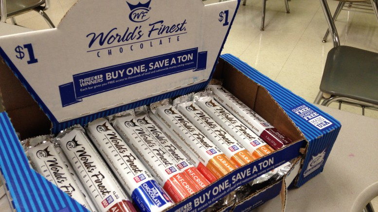 """Every fall, Leesville students flock to their peers carrying the cardboard World's Finest Chocolate boxes. The chocolate flavors include """"Milk Chocolate,"""" """"Dark Chocolate,"""" """"Almond,"""" """"W.F. Crisp,"""" and """"Caramel""""; Caramel is the most popular bar among students and typically sells out quickly.  (Photo courtesy of Sydney Tucker)"""