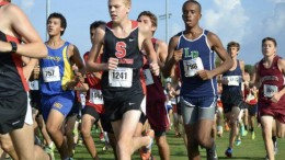 Leesville alum Carson Ellerby, right, runs in a tight pack in a cross country race. Ellerby holds three school records in the indoor 1600 meters, the indoor 1000 meters, and the outdoor 800 meters, and also owns the fifth best time in the five kilometers in Leesville history. (Photo used by permission of Carson Ellerby)
