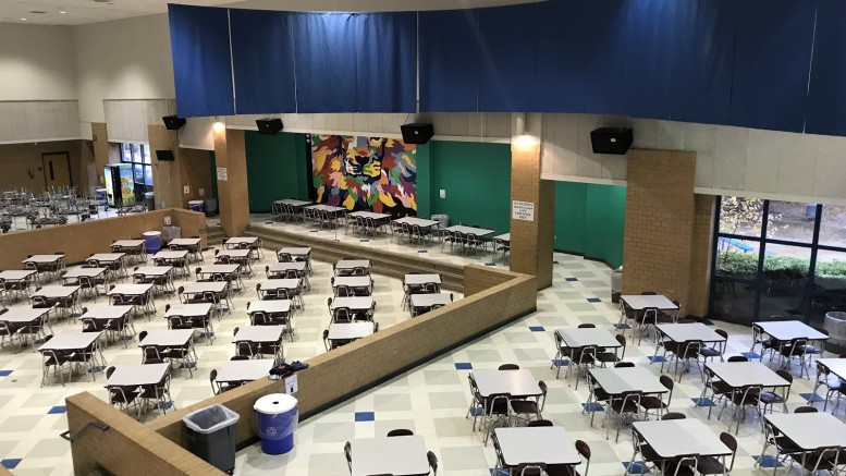 The Leesville cafeteria is a large commonplace for students that stay on campus to eat lunch. Those that are not required to stay for check-in gather here often. This is also where the infamous peaceful protest against SMART Lunch ending was held in the 2016-17 school year. (Photo courtesy of Natalie Gore)