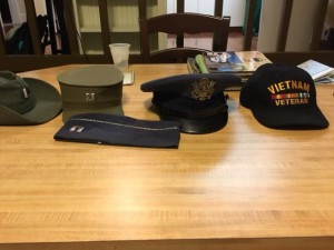 These are a collection of hats collected during Hoffman's military career. (Photo courtesy of Matt Wiener).