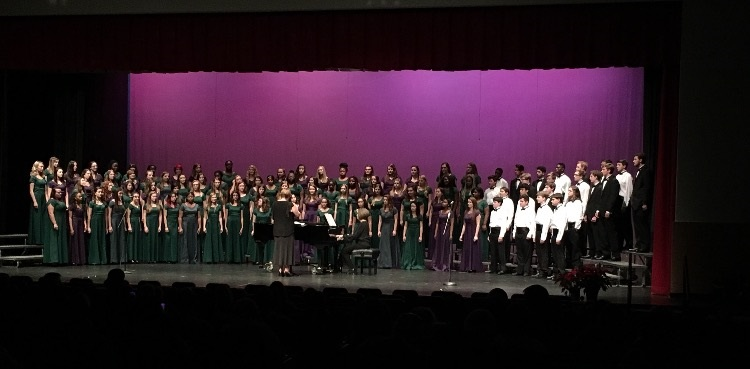The Leesville Chorus sings a song together near the end of the night performance on December 8. All parts of the program had an opportunity to shine during the concert. (Photo courtesy of Jennifer Bateman)