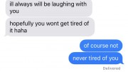 A portion of pictures on VSCO are screenshots of texts between friends or romantic partners. These messages can be sensitive, romantic, supportive, or even just have a deeper meaning. (Photo courtesy of Natalie Gore)