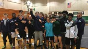 The Leesville wrestling team after a conference win over Cardinal Gibbons at Leesville. The close match and hard fought victory are attributed to Leesville's endurance and grit. (Photo used by permission of Tracey Polansky)
